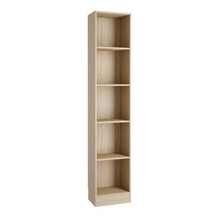 Tall Narrow Bookcase (4 Shelves) in Oak